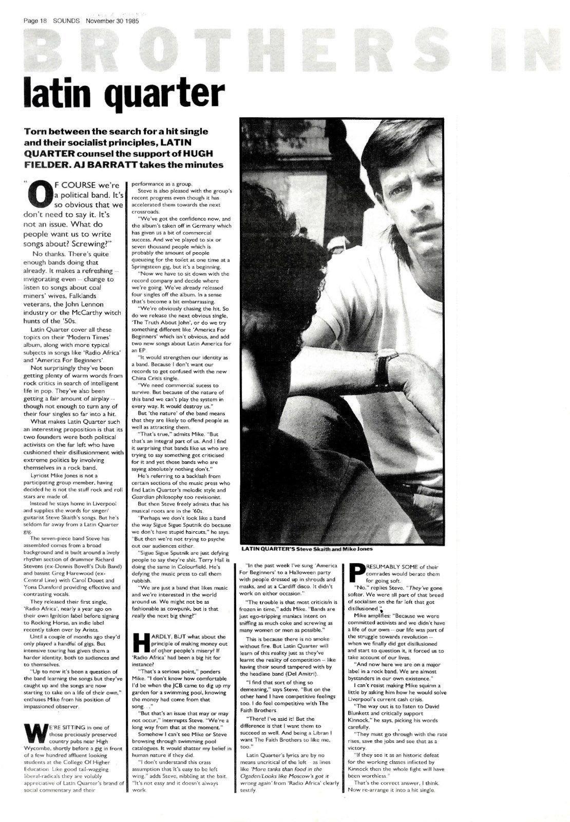 Sounds : Latin Quarter 1985