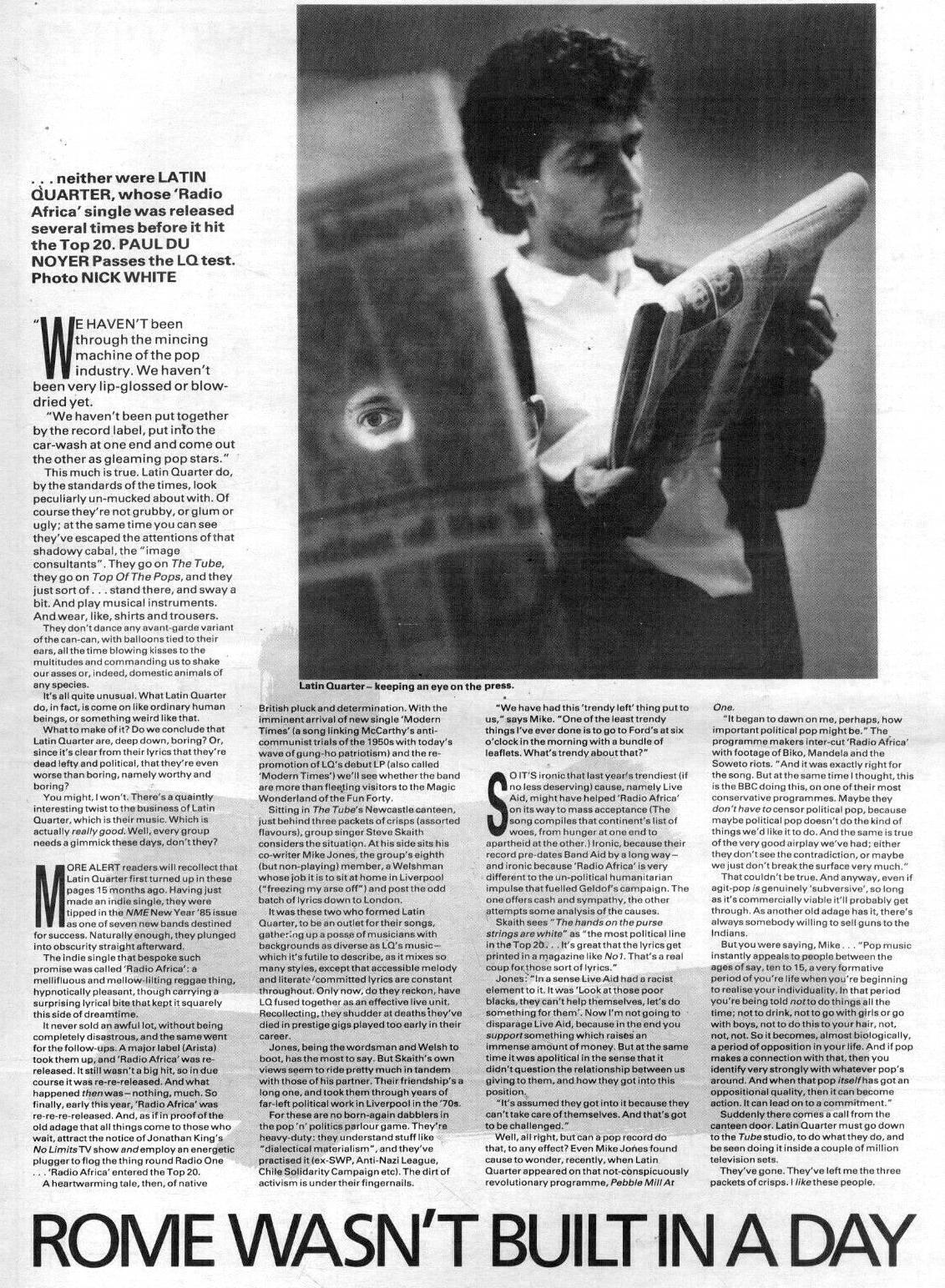 New Musical Express : Latin Quarter 1986